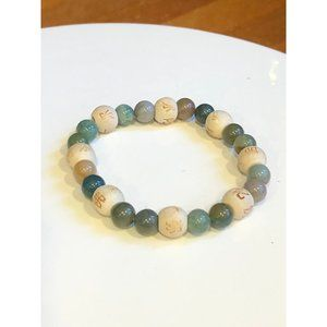 Asian Character Natural Stone Stretch Bracelet